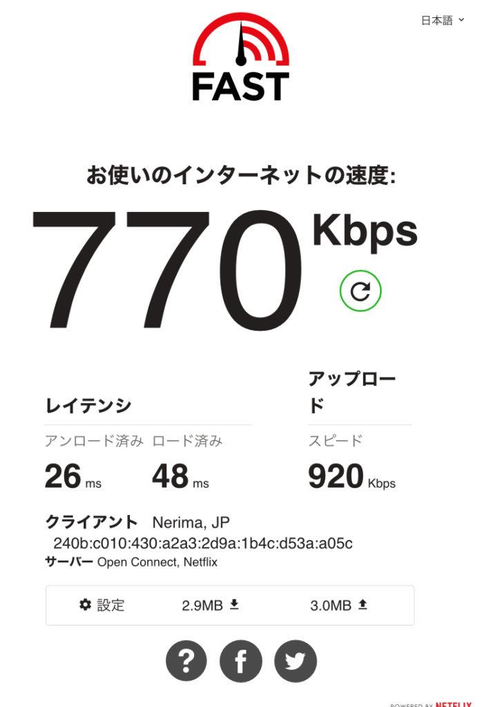 速度制限後の通信速度